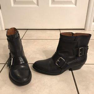 Nine West Navy Leather Western Bootie, Size 7.5